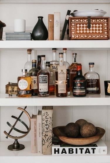 Detail shot of styled shelves