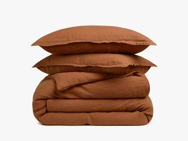 Parachute terracotta linen duvet cover set and pillows