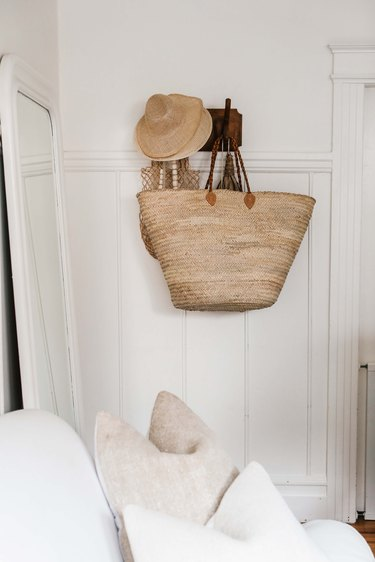 Detail shot of basket, hats and molding