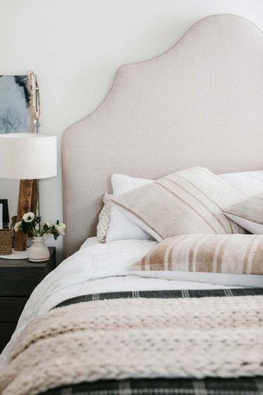 Fragments Identity pillows in the master bedroom