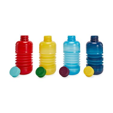 four water bottles in various colors