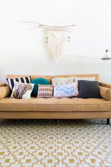 Pillows on a sofa.