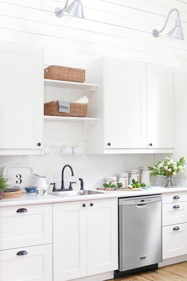 Laminate with white countertops.