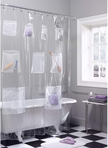 plastic shower curtain with pockets