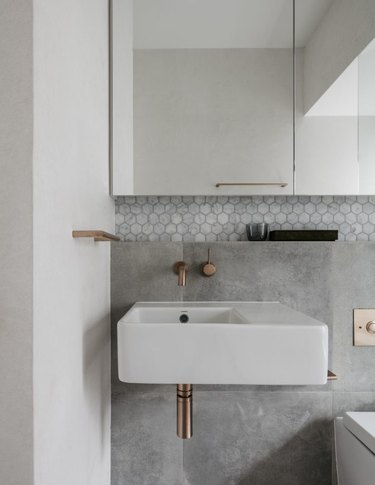 natural stone tiles and marble hexagon tiles in stone tile bathroom