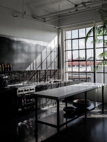 industrial kitchen with dark cabinets