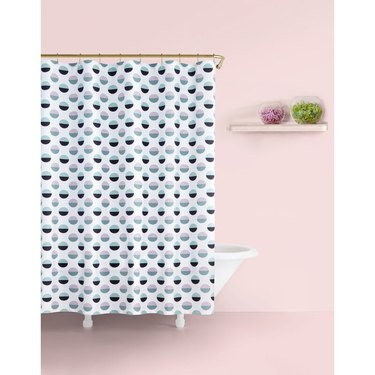 fabric shower curtain with polka dots