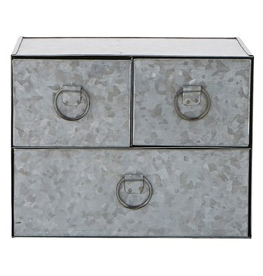 Mini galvanized steel drawers. 3 drawers.