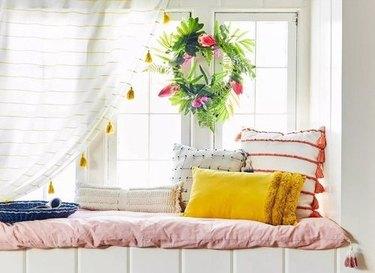 striped drape panels with tassels