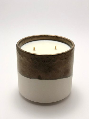 ceramic candle with two wicks
