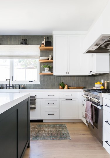 modern kitchen with white shaker cabinets