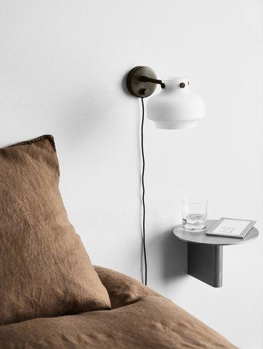 Scandinavian design bedroom with linen sheets