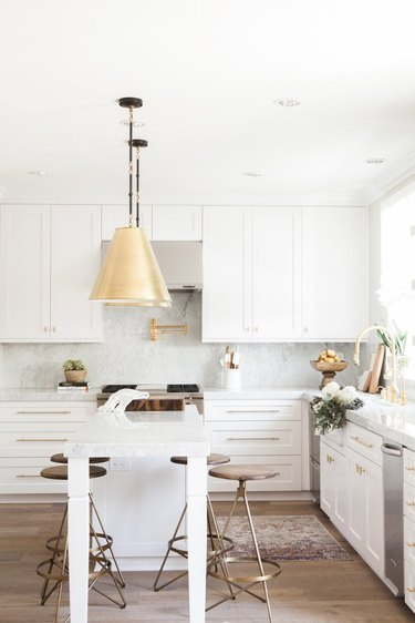 White and gold transitional kitchen ideas