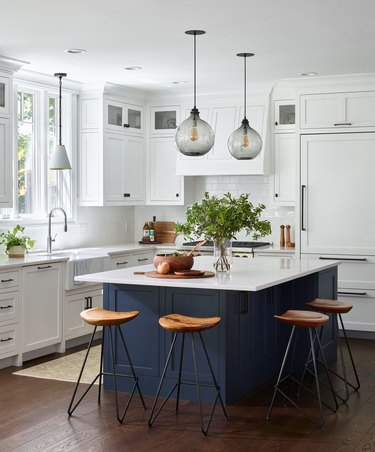 transitional kitchen ideas with blue island