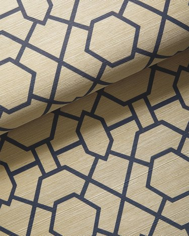 art deco wallpaper with trellis pattern in navy