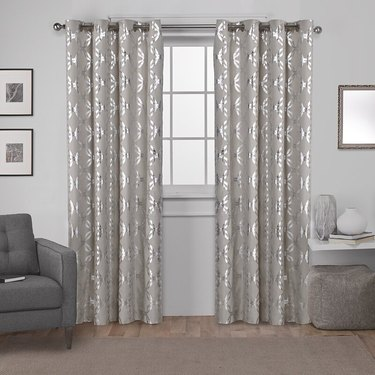 metallic silver curtains with interlocking pattern