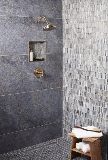 Glass tile bathroom idea in the shower
