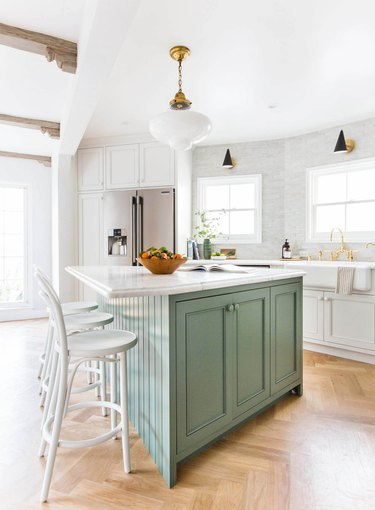 transitional kitchen ideas with green island