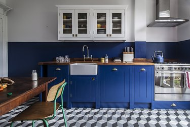 blue kitchen with gray cube patterned floor