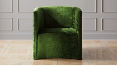 green velvet art deco chair from CB2