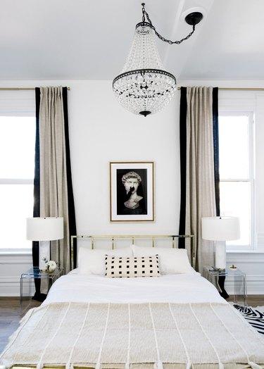 black and white minimal hollywood bedroom