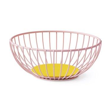 powder coated pastel pink fruit bowl