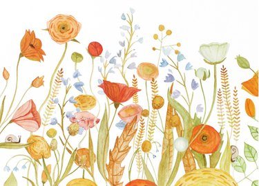 Floral mural with pink, orange, and blue flowers on white background