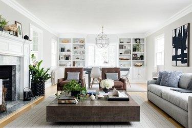 farmhouse living room with hardwood floors