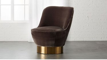 brown and gold tub armless art deco chair from CB2