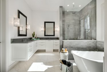 L-shaped vanity with gray worktops
