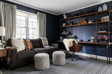 navy walls comfortable living room