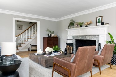 leather seats in farmhouse living room