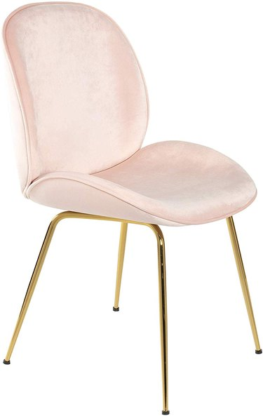 pink velvet art deco chair with brass legs from Amazon