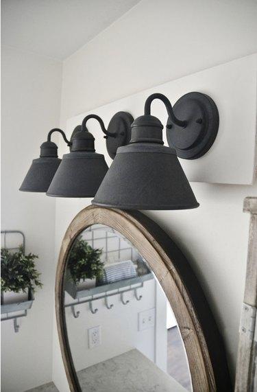 DIY farmhouse bathroom vanity lights