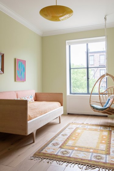 Scandinavian colors with yellow walls and orange accents