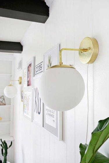 DIY brass globe lights