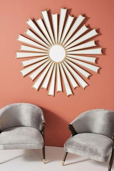 sunburst mirror with gold frame