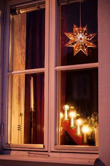 holiday lights in swedish window