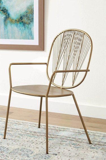 metal art deco chair in brass finish from Overstock