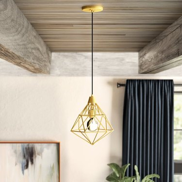 diamond shaped pendant light in gold