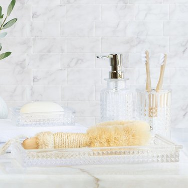 diamond cut glass tray and accessories