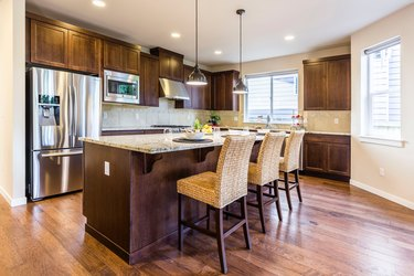 traditional kitchen with wood island