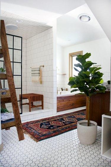 Bathroom with vintage rug
