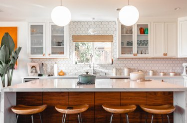 retro kitchen with wood island
