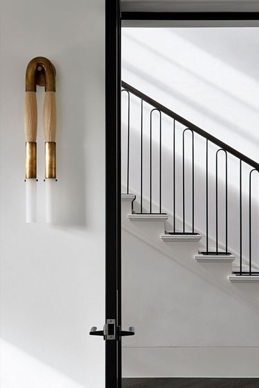 art deco staircase with curved details in railing