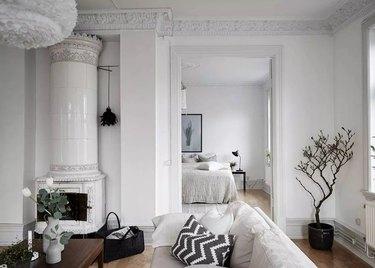 Remodeled white living room