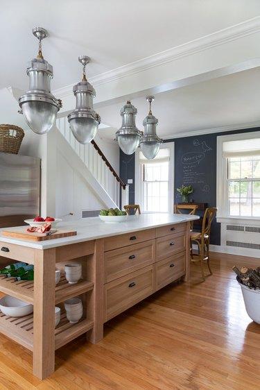 modern kitchen with wood island