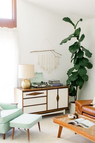 Living room with midcentury furniture