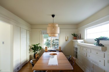 dining room with IKEA pendant lamp