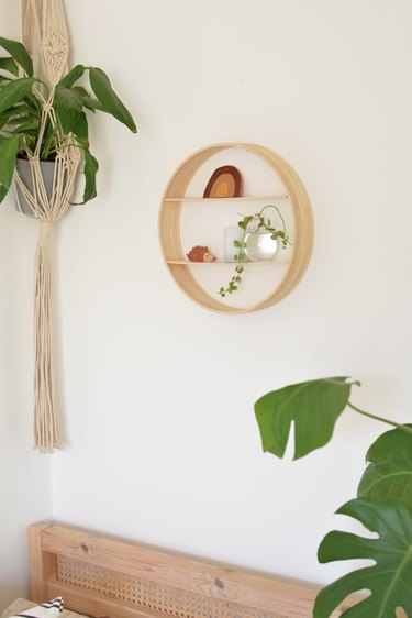 Round wooden circle wall shelf next to hanging plant.